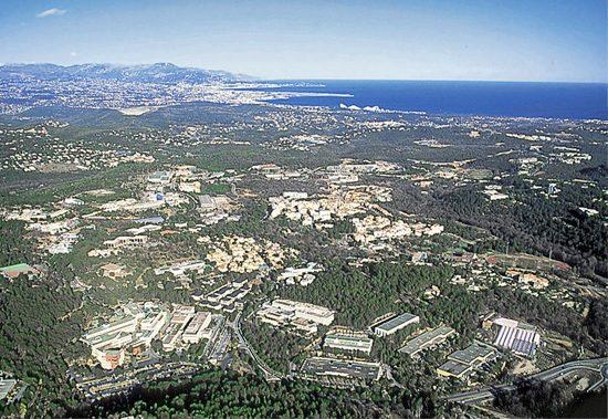 Vue aérienne de Sophia Antipolis